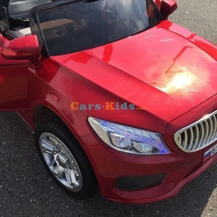 Электромобиль БМВ Б555ОС красный (колеса резина, сиденье кожа, пульт, музыка)