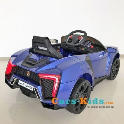 Электромобиль Lykan Hypersport QLS 5188 синий (задний привод, колеса резина, кресло кожа, пульт, музыка)